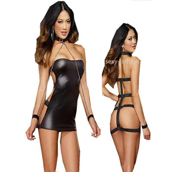 Xanded Leather Leash Sexy Nightgown