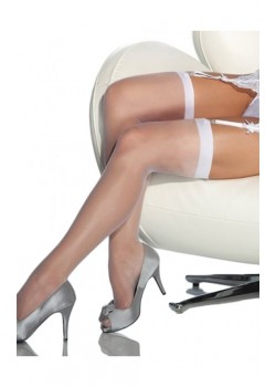 Xanded Fantasy White Plain Garter Stockings