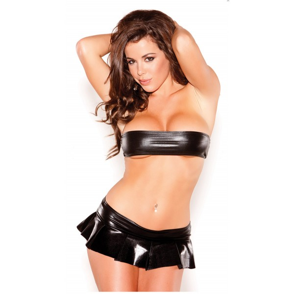 Xanded Fantasy Leather Pleated Black Mini Skirt Bra Set Sexy Underwear